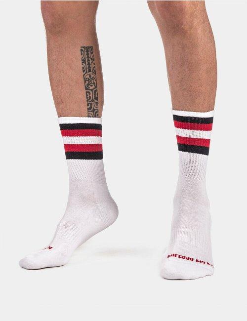 barcode Berlin Half Socks Stripes weiß